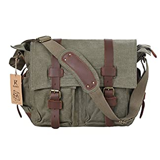 51GmXrIwAPL. SS324  - Bolso bandolera Kattee, tela y piel, bolso de mensajero, cartera, bolsa