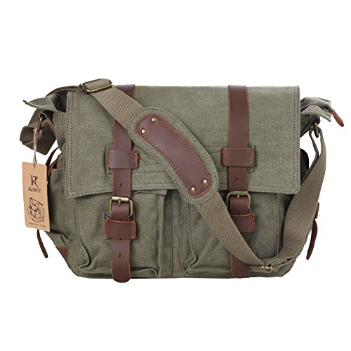 Kattee Umhängetasche Canvas + Leder Schultertasche Messenger Bag Kuriertaschen Schultasche