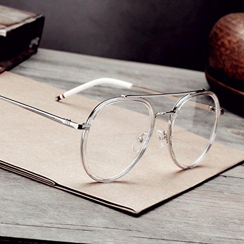 Sunyan Die koreanische Version der Künste Studenten van schwarzer Brille, retro Big Box rundes Gesicht flache optische Linse mit kurzen ausgestattet werden kann, Kurzsichtig, Gläser, transparent weiss