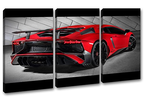 luxuriöser roter Lamborghini im Format: 3-teilig 120x80 als Leinwand, Motiv fertig gerahmt auf Echtholzrahmen, Hochwertiger Digitaldruck mit Rahmen, Kein Poster oder Plakat