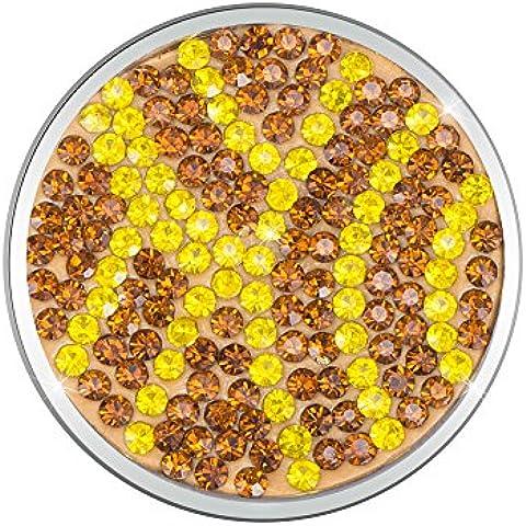 Meilanty acero inoxidable recubierto de la astilla de disco intercambiable para la moneda collar con zirconias cúbicos de 33 mm de diámetro GP-85