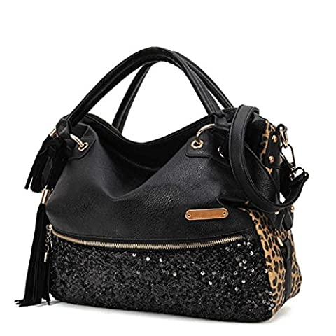 Fulltime(TM) Fashion Casual Leopard Tassels Handbag Women Paillette Messenger Bag