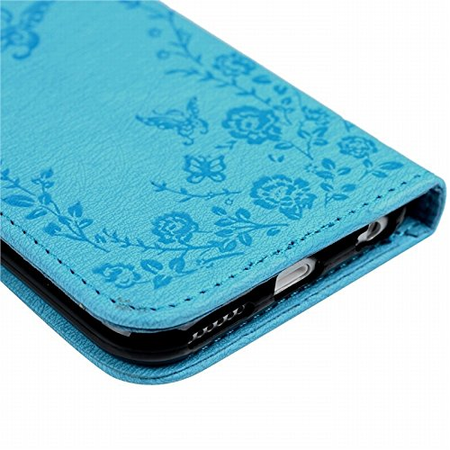 """Apple iPhone 6 iPhone 6S 4,7"""" Hülle, Yokata Schutzhülle Ultra Dünn Slim Book Etui Tasche PU Leder mit Innere Soft Silikon Gel Karten-Slot Brieftasche Eingebautem Magenet [Lanyard mit Diamant Blumen un Blau"""