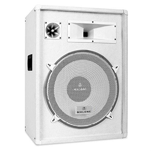 """Malone PW-1522 • passiver 3-Wege Lautsprecher • Fullrange PA Box • 800 Watt max. Leistung • 38 cm (15"""")-Tieftöner • Horn-Mitteltöner • Piezo-Hochtöner • Frequenzgang: 30 Hz bis 18 kHz • optionaler Subbass • Holzgehäuse • Muldentragegriffe • weiß"""