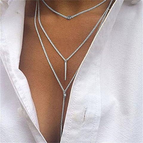 Collier LILICAT Femme Fashion Tassel Multilayer Necklace Elegant Chain clavicule chaîne Charm Bijoux Jewelry (Silver)