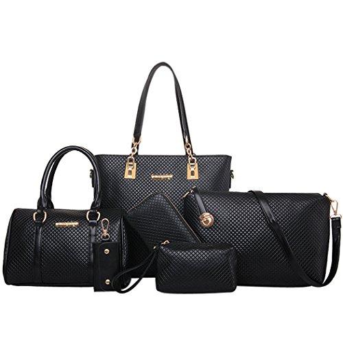 Coofit, Damen Handtasche Set Taschen Tote Leder Schultertasche Geldbeutel Beutel Geldbörsen, 6 Sets- Schwarz Rhombischen, Größe L