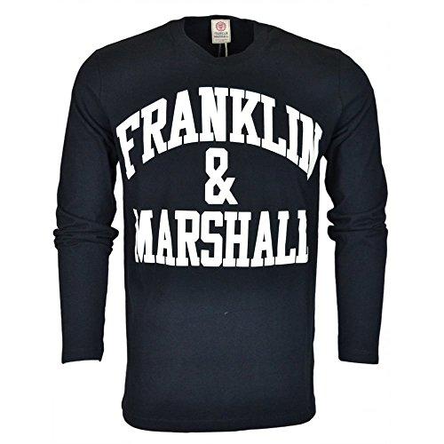Franklin-Marshall-MF356-Jersey-Round-Neck-Printed-Long-Sleeve-Black-T-Shirt