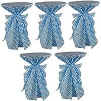 Sensalux, 5 Stehtischüberwürfe / die preisgünstige Alternative zur Husse(nicht genäht) abwischbar - wiesn, Oktoberfest, blau weiß für Tischdurchmesser 60-70 cm