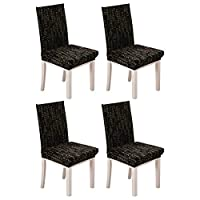 KING DO WAY Set of 4 Removable Stretch Slipcovers Short Dining Room Chair Seat Cover Wedding Party Letter