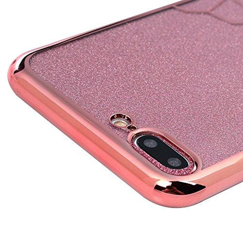 iPhone 7 Plus Cover, Custodia a Specchio Brillantini Glitter Brillanti Morbida Silicone TPU Flessibile Gomma - MAXFE.CO Case Ultra Sottile Cassa Protettiva per iPhone 7 Plus - Oro Rosa Schema Oro Rosa Schema