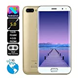 TianranRT 5,0 Zoll Dual HD Kamera Smartphone Android 6.0 1G + 4G GPS 3G Anruf Handy (Gold)