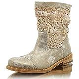 Felmini A947 Gredo Quartz+Guipure Damen Stiefelette Boots (40, Ouro+ Rafia)