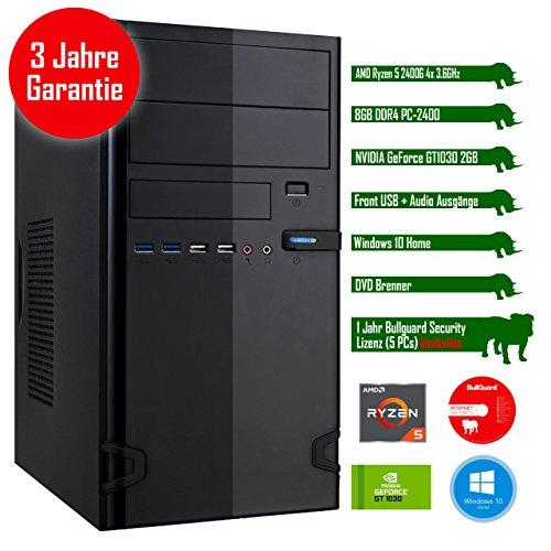 Rhino Rapid a2410 W10 mit Windows 10 I AMD Ryzen 5 2400G 4x 3.6 GHz I 8 GB DDR4 I NVIDIA GeForce GT1030 2 GB I MSI I 1000 GB SATA I DVD-Brenner I Xilence Cooler & Netzteil I USB 3.0 | Gigabit-LAN | 7.1-Kanal-Sound I Bullguard Internet Security Lizenz 1 Jahr / 5 PCs I 36 Monate Garantie