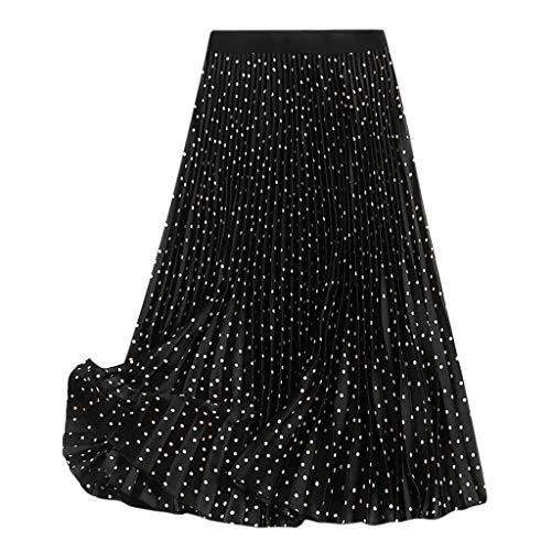 Plissee Karo-rock (Wawer_Damen Rock  Frauen Lange Röcke elastische Taille Plissee Maxi Röcke Strand Boho Vintage Sommer, Faltenrock Prinzessin Rock)
