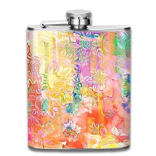 flask bottle Spring Colorful Flowers Pattern Retro Portable 304 Stainless Steel Leak-Proof Alcohol Whiskey Liquor Wine 7OZ Pot Hip Flask Travel Camping Flagon For Man Woman Flask Great Little Gift