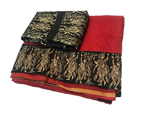 SilverStar Chanderi Cotton Saree With Blouse Piece(Rk Designe_Red_Free Size)