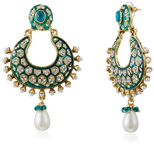 Ava Traditional Drop Earrings for Women (Green) (E-VS-052)