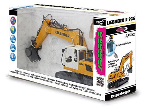 Jamara 405060 - Bagger Liebherr R936 1:20 2,4G - realistische Funktionen (entladen/ aufladen), jedes Gelenk einzeln steuerbar, 660 ° Turmdrehung, Metallschaufel, Motorsound, Hupe, Rückfahrwarnsound - 7