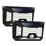 WZTO Solarleuchten Außen 66 LED IP65 Wasserdicht Solarlampe mit Bewegungssensor Superhelles Hitzebeständig 3 Modi Sicherheitswandleuchte Wandleuchte für Garten Türe Flur Wege Patio Zaun 2 Stück