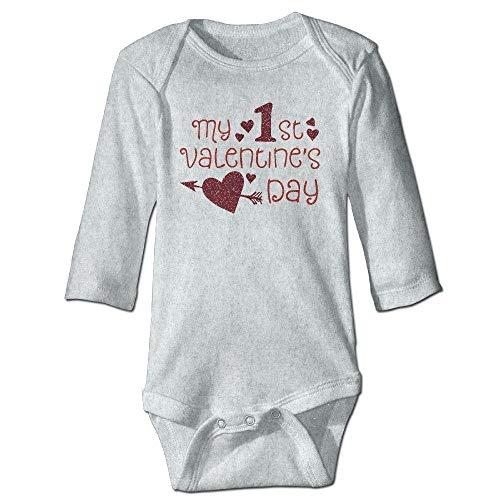 Daisy Evans braeccesuit Infant My 1st Valentine's Day Long Sleeve Romper Onesie Bodysuit Jumpsuit,0-3M Valentine Infant Bodysuit