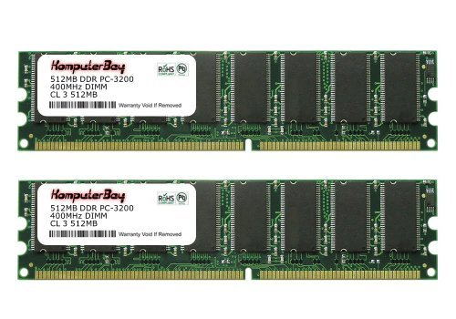 Komputerbay 1GB (2X512MB) DDR DIMM (184 pin) 400Mhz PC3200 Low Density 1 GB KIT -