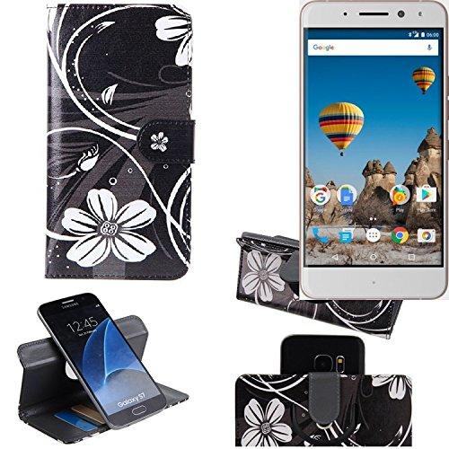 K-S-Trade Schutzhülle für General Mobile GM 5 Plus Hülle 360° Wallet Case Schutz Hülle ''Flowers'' Smartphone Flip Cover Flipstyle Tasche Handyhülle schwarz-weiß 1x