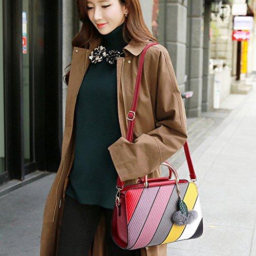 BYD - Pell Donna Handbag borsa a Spalla Borse a mano Tote Bag Shoulder Bag con maniglia in metallo Rosso