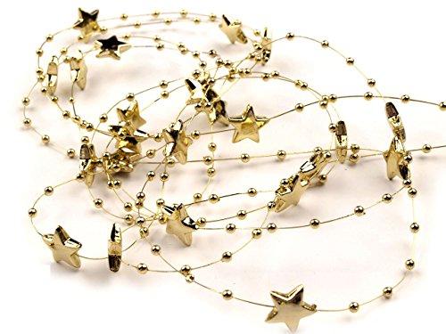 Schnoschi 2m Gold Sterne Perlenband Perlenkette Perlengirlande Perlenschnur Weihnachten Advent Deko Perlen Tischdeko Meterware