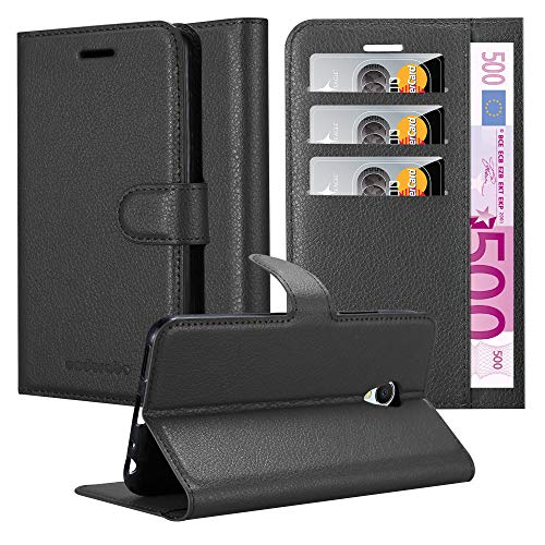 Cadorabo Hülle für MEIZU MX6 - Hülle in Phantom SCHWARZ - Handyhülle mit Kartenfach und Standfunktion - Case Cover Schutzhülle Etui Tasche Book Klapp Style