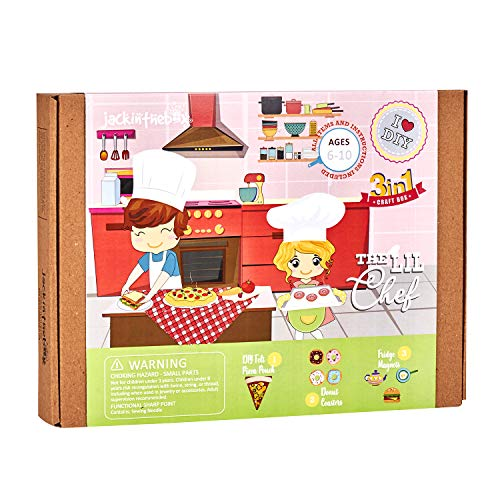 The Little Chef Food Crafts for Girls and Boys | Ages 6 7 8 9 10 Years | Beautiful Birthday Gift | Includes Pizza Pouch, DIY Donut Coasters, and Fridge Magnets (Little Chef 3-in-1)
