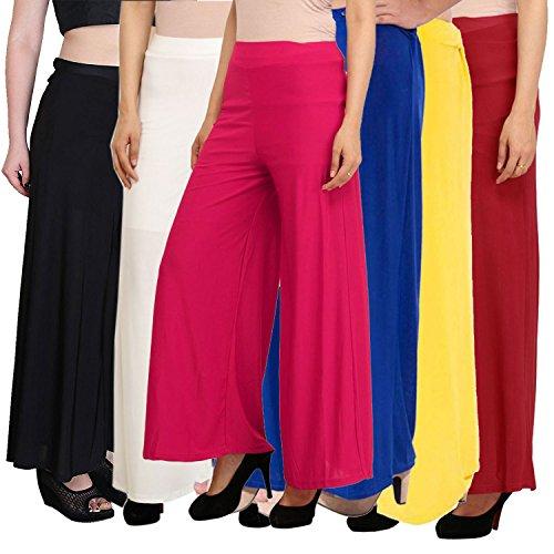 Pixie Women's Malai Lycra Pant Palazzo Combo (Pack Of 6) - (Free...