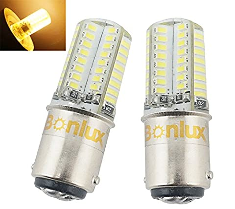 Bonlux 2-Pack Ba15d LED Bulb DC 12V Warm White 3000K Double Contact Bayonet SBC Ba15d (Led Flood Lampada)