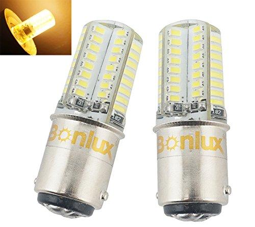 Bonlux Ba15d LED Birne Doppelkontakt Bajonett SBC 3W DC/AC 12V Warmweiß 2700K Ba15d 1141 1156 1073 1093 1129 LED Ersatz für Innen-RV Camper-Beleuchtung (2-Stück)