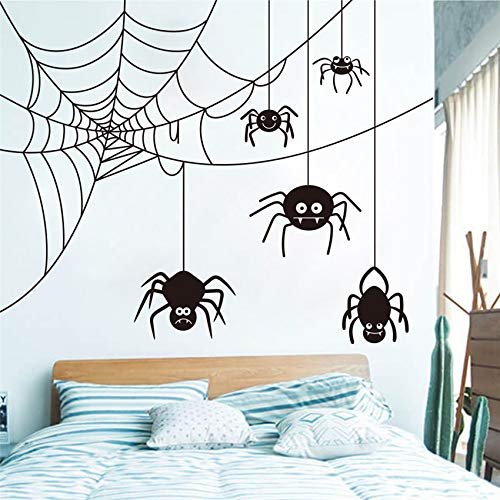 Spinnenwebart Halloween Wandaufkleber Kinderzimmer Schlafzimmer Tier Wandtattoo Wohnzimmer Vinyl Art Decor Abnehmbare Wandaufkleber 58 X 69 CM