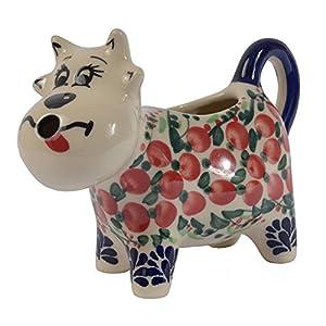Traditional Polish Pottery, Handcrafted Ceramic Cow-Shaped Cream or Milk Jug 125ml, Boleslawiec Style Pattern, J.401.Cranberry