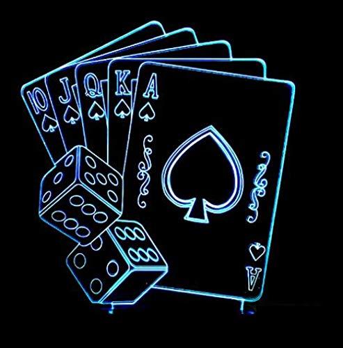 ClockGH Spade K King Poker Karten Casino Dice 3D Lampe 5V USB LED Nachtlampe Acryl Lava Lampe 3D-1093 @ Model_5_7_Colors_Change -