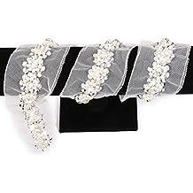 PIXNOR Costura artesanía Trim lentejuelas perlas bolas de cinta decorada ajuste de cinta de encaje (blanco)