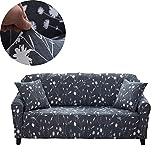 ENZER Sofa Bezug 1 2 3 4-Sitzer-Bettüberwurf Sessel Blumen Vogel Easy Stretch Elastischer Stoff Sofa Couch Cover Protector ,4-Sitzer,Weiße Blumen