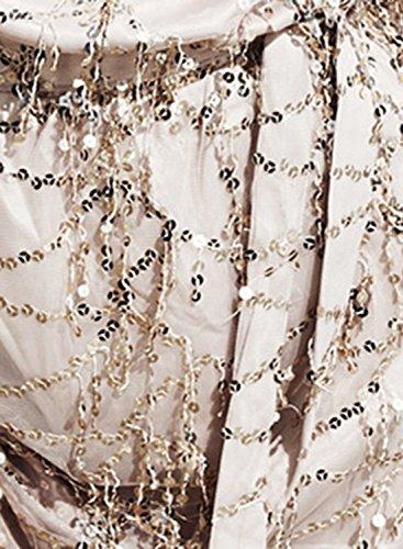 Azbro Women's off Shoulder Long Sleeve Sequins Mini Dress White