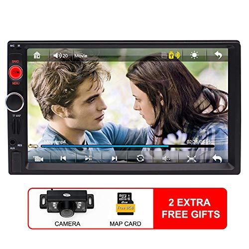 7-Zoll-Doppel-DIN-Screen-Auto-Stereo MP5 / MP4 / MP3-Player FM Radio Car Audio Bluetooth Unterstützung GPS-Navigation mit Karten-Karte Rear-View Kamera Lenkrad-Fernbedienung Spiegel Verbindungs- + K