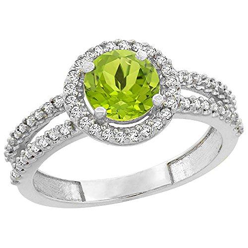 Revoni-Bracciale in oro bianco, 14 carati, con peridoto naturale, Halo Anello con diamante, 6 mm, Oro bianco, 50 (15.9), cod.