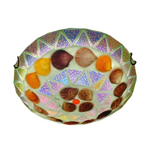 LED Deckenleuchten Modern Einfache Glas Tiffany Muscheln Mediterrane Deckenleuchte Kreative Schlafzimmer Wohnzimmer Halbkreis Deckenlampe Ø40cm 24W