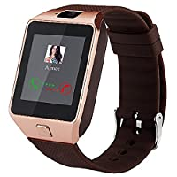 Smartwatch, Bluetooth Watch and Unlocked Watch Cell Phone all in one for Android Smartphones Samsung Sony LG and IOS iPhone�??Silver (golden)