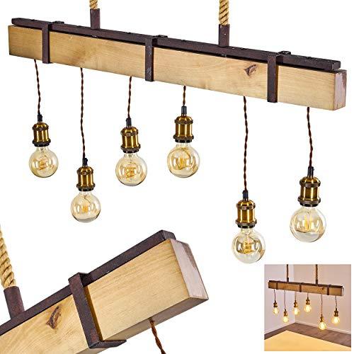 Pendelleuchte Rimfosa, Hängelampe aus Holz/Metall in Rost/Braun/Messing, 6-flammig, 6 x E27 max. 60 Watt, Höhe max. 163 cm (verstellbar), moderne Hängeleuchte im Retro/Vintage-Desgin, LED geeignet
