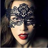 eBoutik Damen Maskerade Maske Ball schwarz rot Spitze Effekt Kostüm Kostüm Outfit Halloween (Schwarzer Spitzeneffekt)