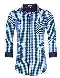 Clearlove Trachtenhemd Herren Hemd Slim Fit Kariert Freizeithemd - für Oktoberfest & Freizeit & Business,Blau,34