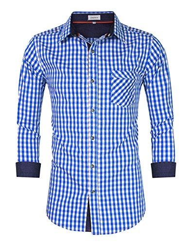 Clearlove Trachtenhemd Herren Hemd Slim Fit Kariert Freizeithemd - für Oktoberfest & Freizeit & Business,Blau,38