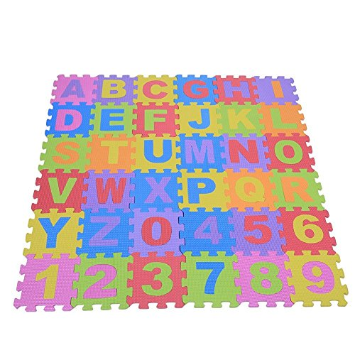 Yosoo 36stk Alphabet Zahl Puzzlespiel Matte Weiche EVA Kinder, die kriechende Auflage spielen Quadratische Fußboden Schaum Matten Kinderzimmer Kindergarten Fußboden Dekoration Baby Kleinkind intellektuelle Spielwaren, 12 * 12CM - Schaumstoff Ineinander Greifende Matten