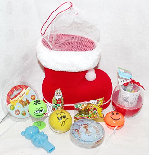 110682 Nikolausstiefel 15cm Smile gefüllt mit Flummi Jumper Yoyo magisches Handtuch Nikolaus Geschenk Stiefel