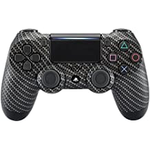 eXtremeRate® Black Silver Fibra de Carbono Diseño Cubierta de la Placa Frontal, Hydro Dipped Front Housing Shell Case para Playstation 4 PS4 Slim PS4 Pro Controller JDM-040